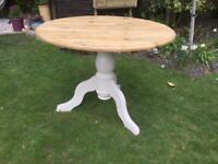 Pine ,Round topped ,pedestal TABLE .....new price