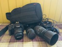 Canon 650D camera and x3 lenses