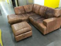 DFS leather L shape sofa with stool, Free delivery