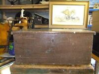 VINTAGE WOODEN TRUNK WITH METAL HANDLES , 28INCHES LONG, 12INCHES HIGH, 11INCHES WIDE,GOOD CONDITION
