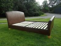 Dark Brown Faux Leather Double Bed