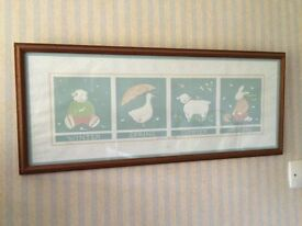 Beautiful nursery print light oak frame showing the 4 seasons mainly duck egg in colour may deliver