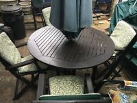 ***Beautiful Brown Oak (Solid wood)Garden Table with 4 chairs, Garden parasol and cushions