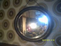 A SUPERIOR OVAL , OAK FRAMED MIRROR , 23 by 19 Inches . WALL HANGING +++++++