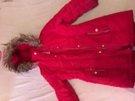 Tu girls winter coat red age 7/8