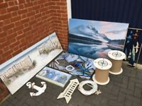 Beach themed bundle, canvases, bedside stools, clothes hook, pictures etc..