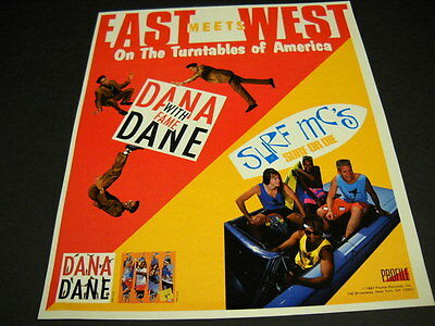 DANA DANE and SURF MC'S on turbtables of America 1987 PROMO POSTER AD mint cond