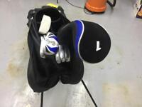Set of juvenile (or shorter person) golf clubs with bag