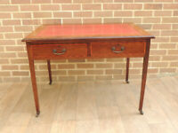 Antique Chunky Wooden Desk with Ox Blood Top (UK Delivery)