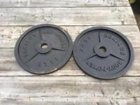 2x20 & 2x2.75 kg Olympic weight plates.