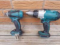 NO OFFERS!!! MAKITA DTD146 18v LXT LI-ION impact driver & BHP451, 3 speed combi drill