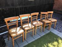 6 solid wooden chairs