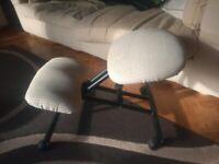 Orthopaedic kneeling Chair-Black metal frame & beige cushions, on casters wheels