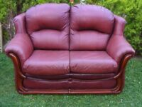 CAN DELIVER - SPACE SAVER 2-SEATER LEATHER SOFA IN VERY GOOD CONDITION