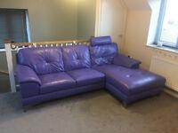 Dhs Event Purple Leather Corner Sofa