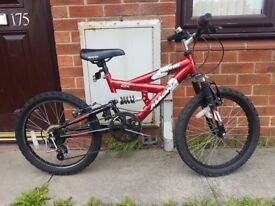 Magna Torrid Mountain Bike duel suspension & 5 speed gear, suitable age is 6-9 years