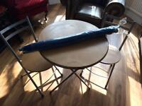 Table, 2 chairs & parasol