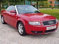 2002 (52) AUDI A4 2.4 V6 SE CONVERTIBLE, 168 BHP, MANUAL, LONG MOT, LEATHER INTERIOR, DRIVES GREAT !