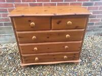 Lovely solid pine chest of drawers. 2 over 3.