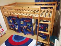 Kids Midsleeper bunk bed with mattress and tent