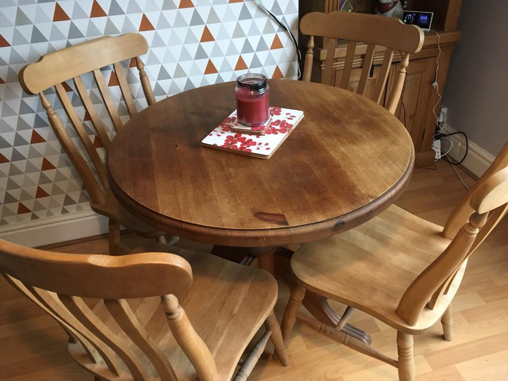 Solid Pine 4 Seater Dining Table And Chairs