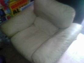 Cream Leather Arm chair
