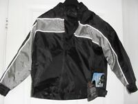CHILD'S BIKER JACKET NEW TAGS ATTACHED - PROTECTIVE PADDING 100% WATERPROOF, 3M SAFETY STRIPS