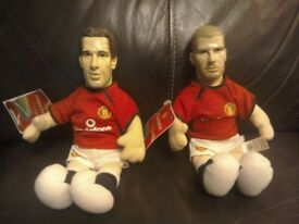 2 X beanie Manchester United dolls retro Van Nistelroy and Beckham. Measure 22cm tall. Will post