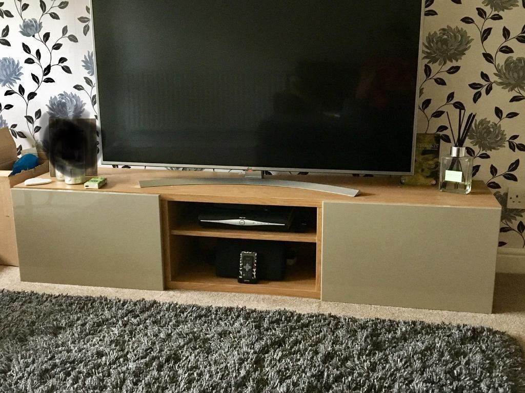 TV Stand / Unit Oak Effect + High Gloss Grey / Mink Drawers