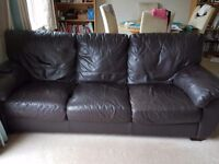 Leather 2 seater, 3 seater and footstool