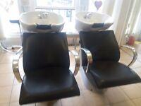 2 x hairdressing back wash basins for sale.