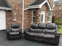 Luxury modern full faux leather ~ 3 & 1 ~ sofas Suite / armchair recliner