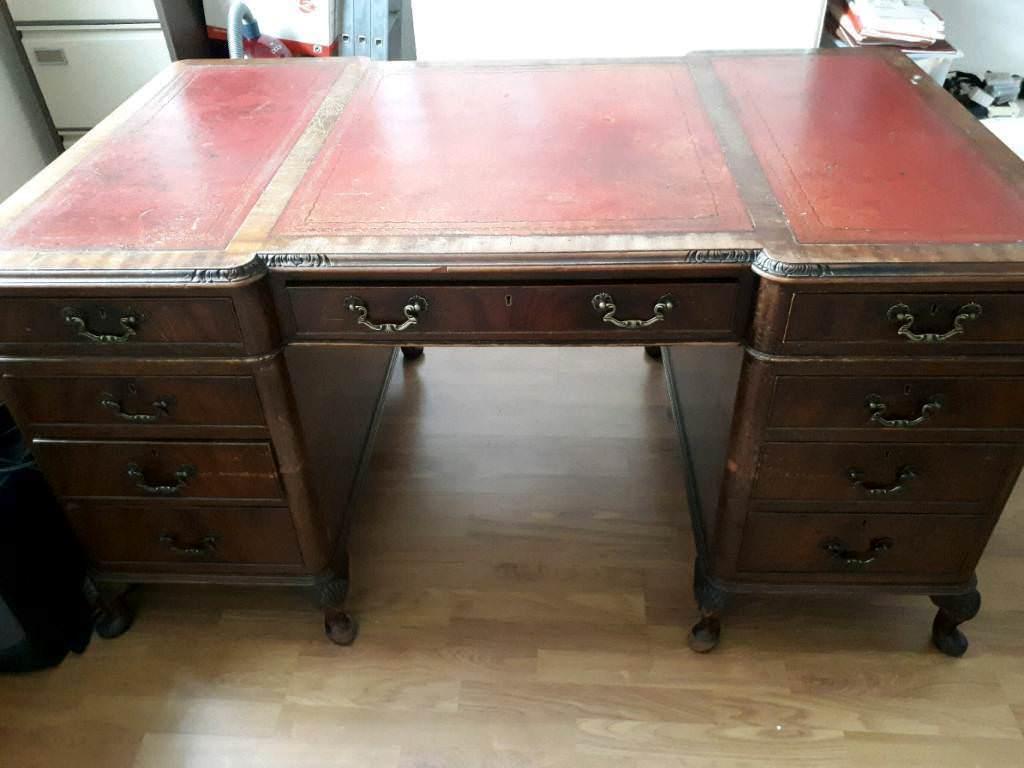 Edwardian Leather Inlaid Writing Desk
