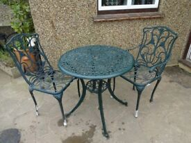 CAST ALUMINIUM GARDEN / PATIO SET -- TABLE AND 2 CHAIRS --