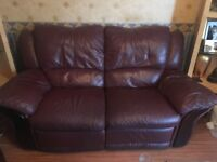 Set of 3 - 2 Seater Recliner Sofa, Armchair and Footstool