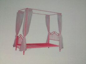 Pink Butterfly Single four poster bed disassembled