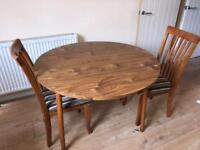 Pure oak dining chairs and table *delivery options Available