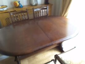 Dark Oak Extending Table and Chairs