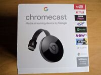 2 x Google Chromecast 2nd gen 1080p HD WiFi + USB TV Media Streamer - New/Sealed