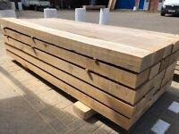 Hardwood Oak Sleepers | Garden Landscaping Wooden Beams - 200mm x 100mm x 2.4M