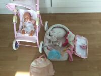 Used, Baby annabel pushchair, Doll with cot carrier and bag and accessories for sale  Truro, Cornwall