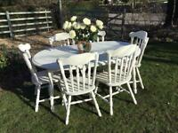 Shabby chic extending circular dining table and 6 chairs