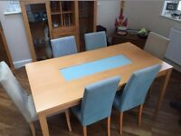 Beech Dining Table and 6 Chairs, Tall Display cabinet and Tall storage dresser.