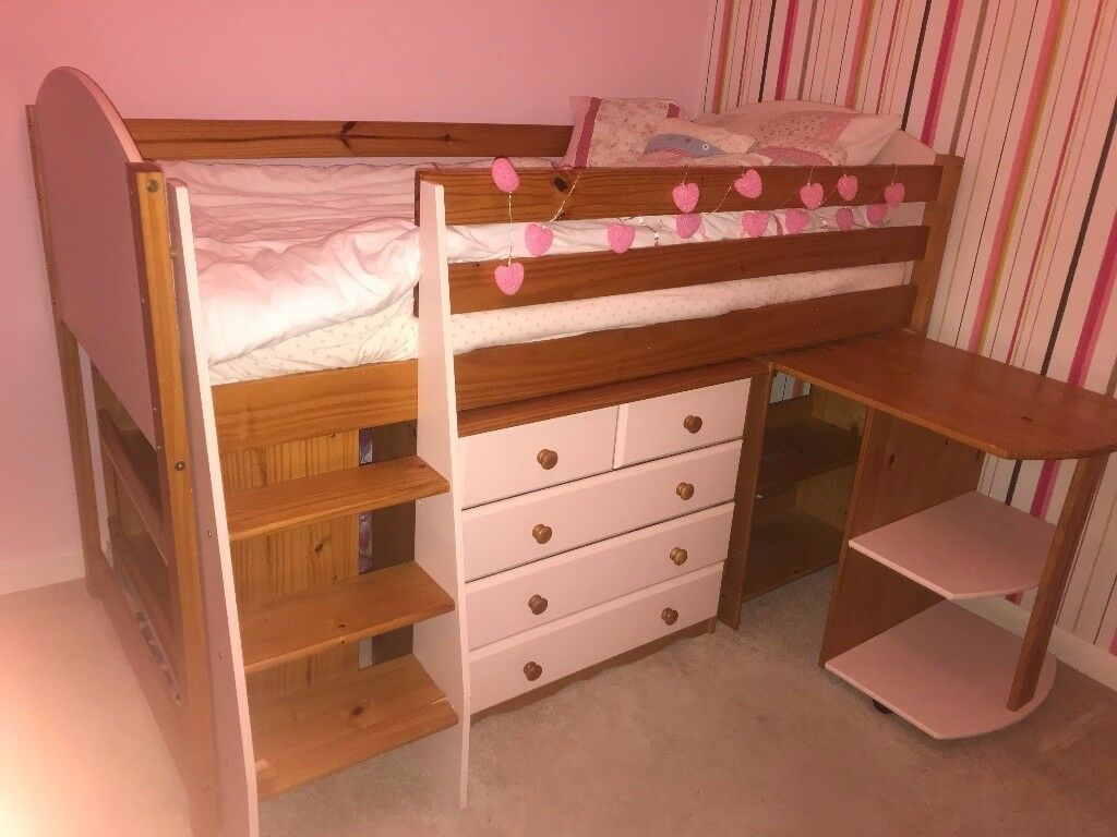 Children's cabin bed with steps, book shelves and drawers in pink