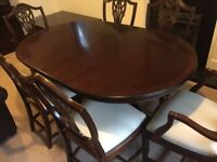 Mahogony Dining room table and 6 chairs