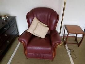 Maroon Leather Armchair