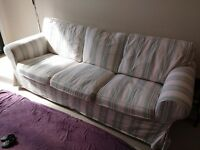 3 seater ektorp sofa with striped covers