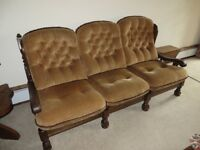 OAK 3 Seater settee & 2 arm chairs