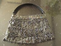 Vintage Black Beaded Evening Bag with Handle