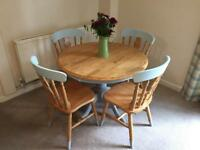 Country Style Round Table & 4 Chairs